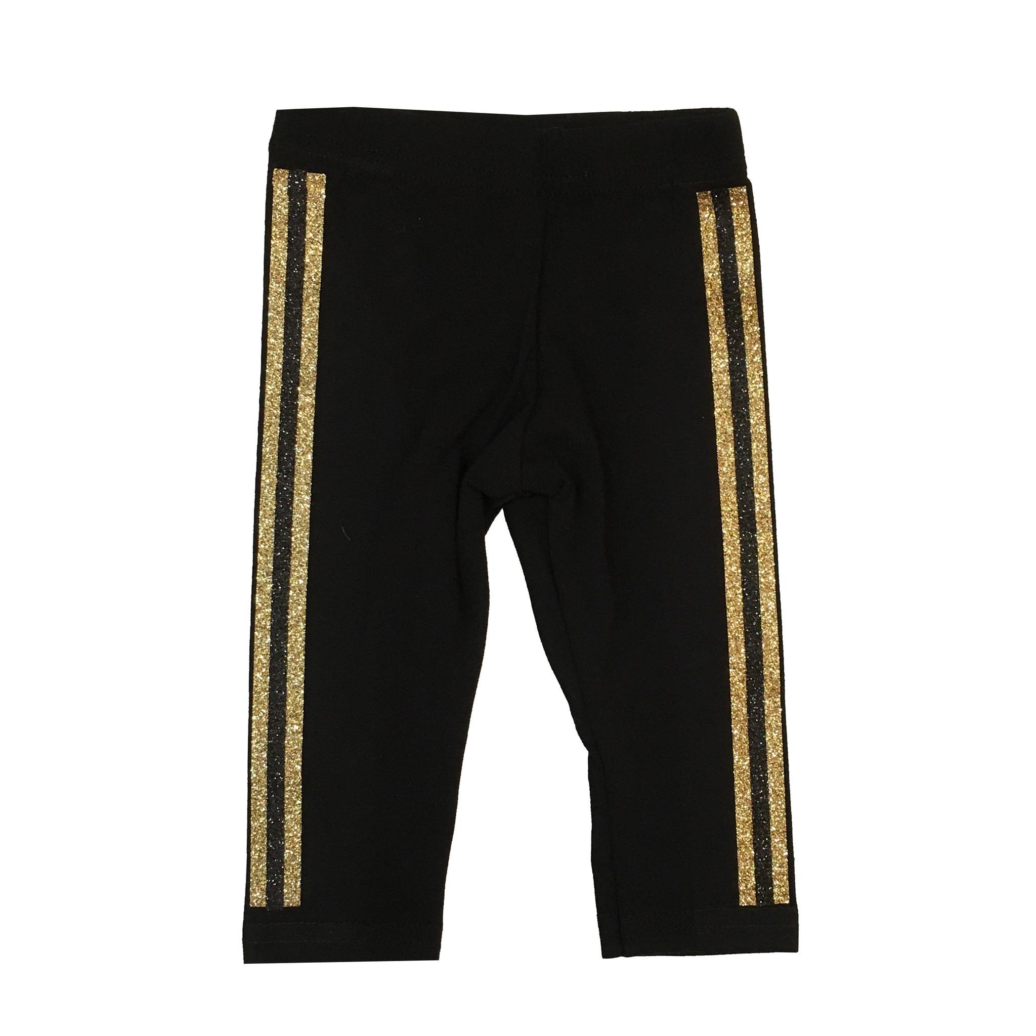 Small Change Gold Glitter Stripe Leggings