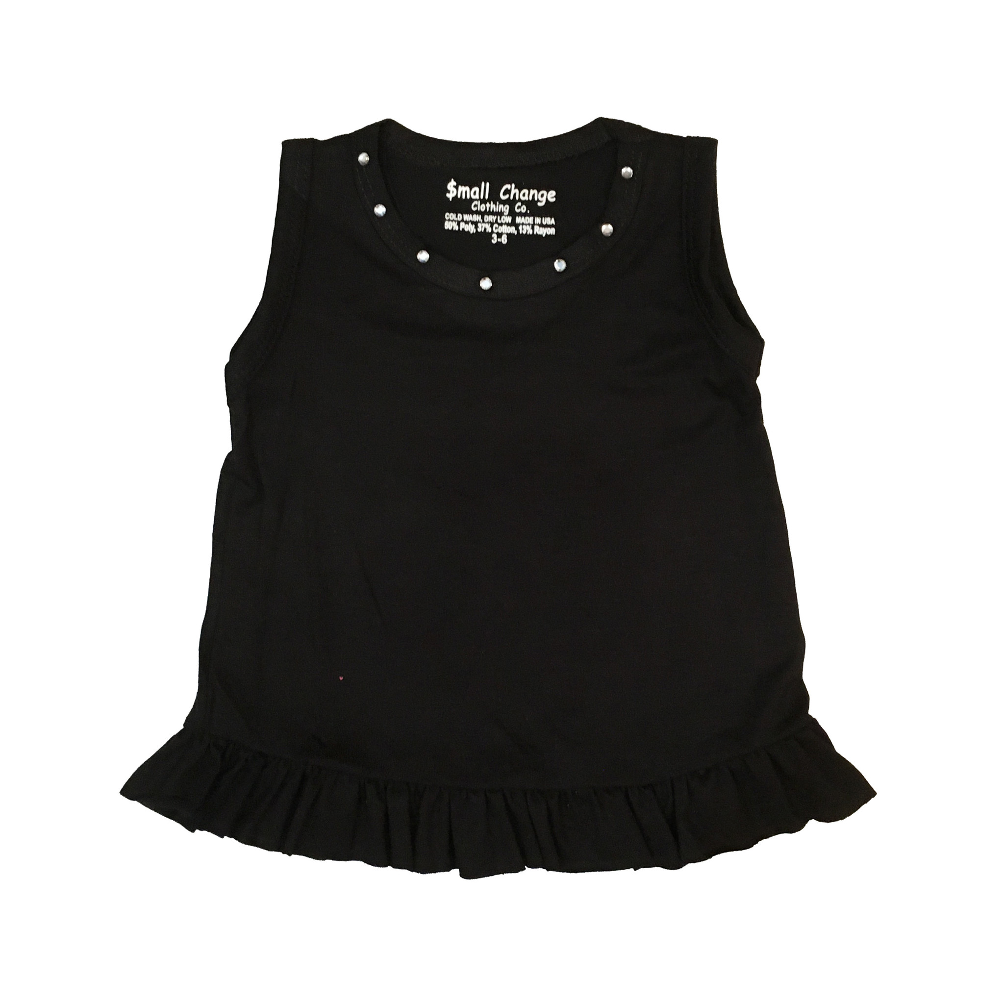 Small Change Black Ruffle Rhinestone Tank