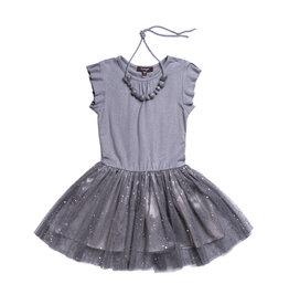 Imoga Silver Splatter Ruffle Sleeve Dress