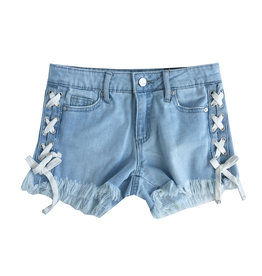 Tractr Lace Up Denim Shorts