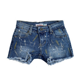 Vintage Havana Metallic Paint Splatter Denim Shorts