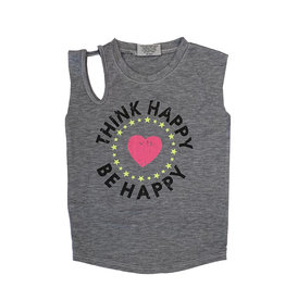 Think Happy Be Happy Open Shoulder Tank