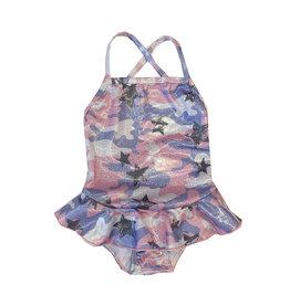 Cruz Toddler Sparkly Camo Ruffle Swimsuit