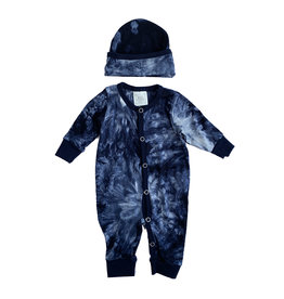 Too Sweet Navy Tie Dye Coverall & Hat
