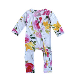 Posh Peanut Watercolor Bloom Ruffle Coverall