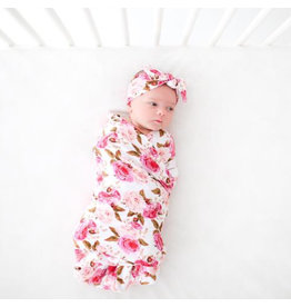 Posh Peanut Infant Pink Rose Swaddle & Headband Set