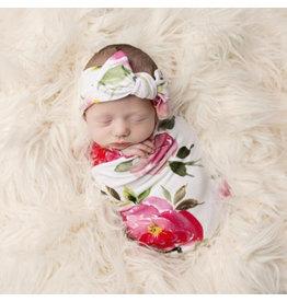 Posh Peanut Infant Watercolor Bloom Swaddle & Headband Set