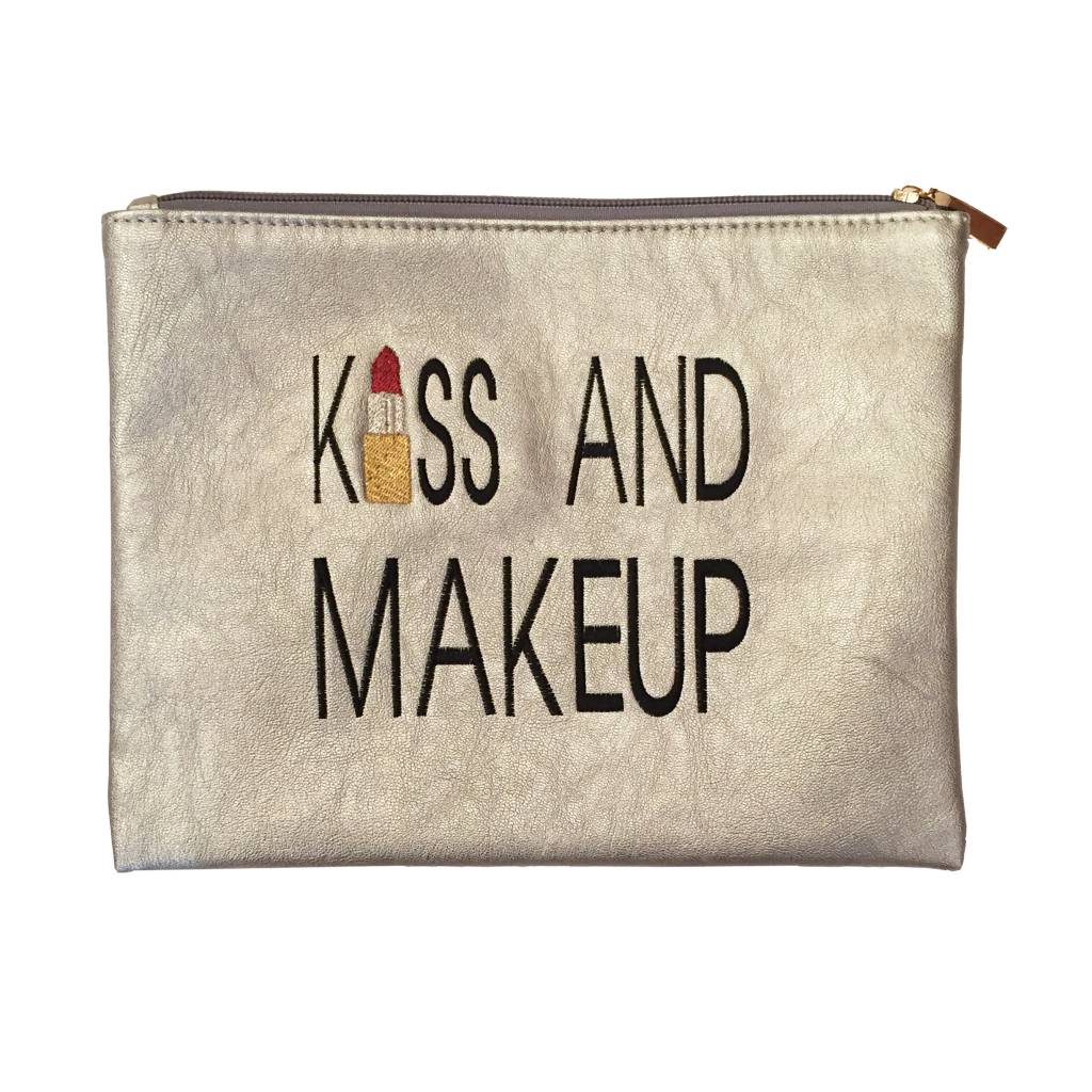 Travel Pouch Kiss & Makeup Silver