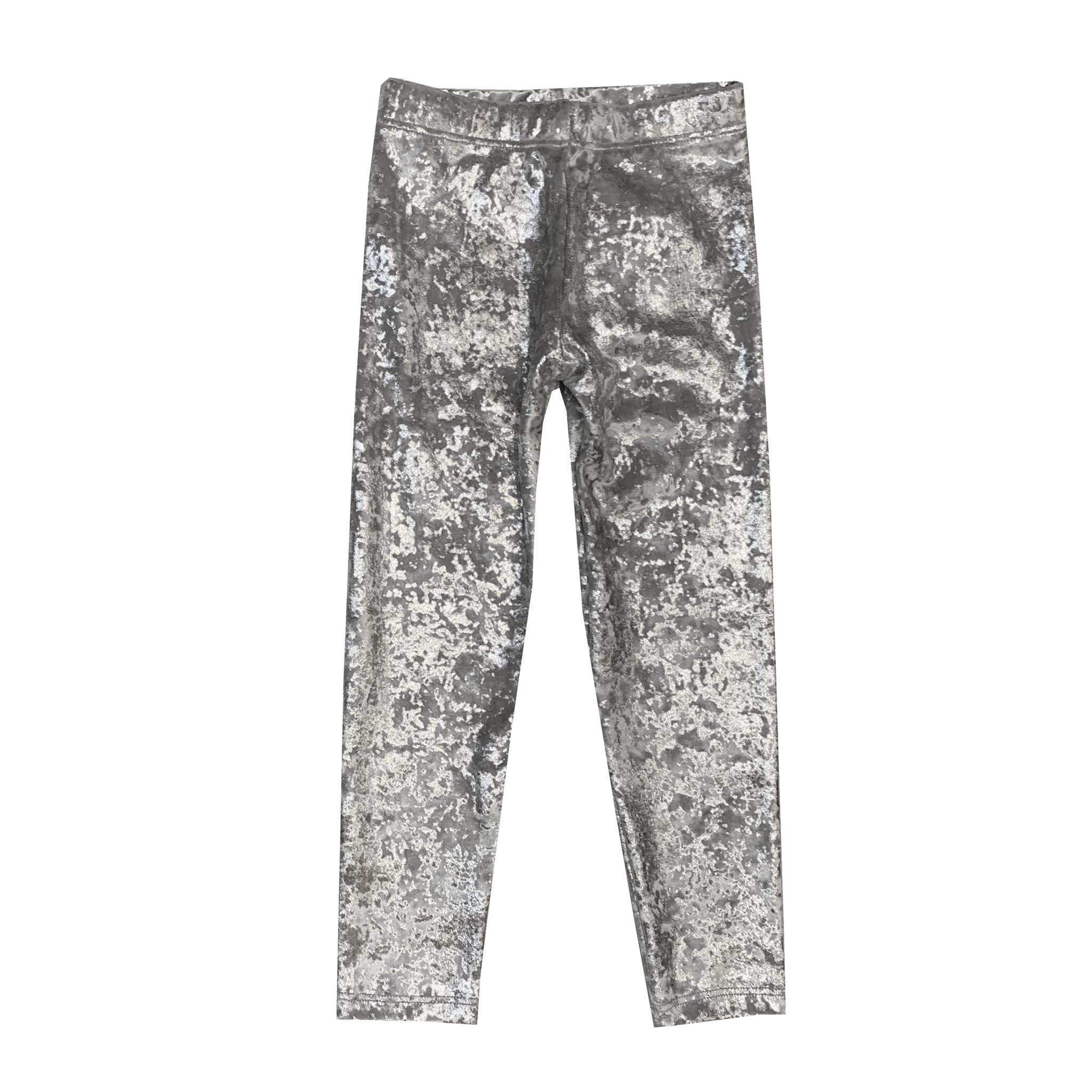 Dori Creations Silver Crushed Velvet Legging
