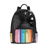 Bari Lynn Black Stripe Front Backpack
