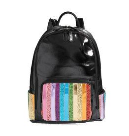 Bari Lynn Black Stripe Front Backpack