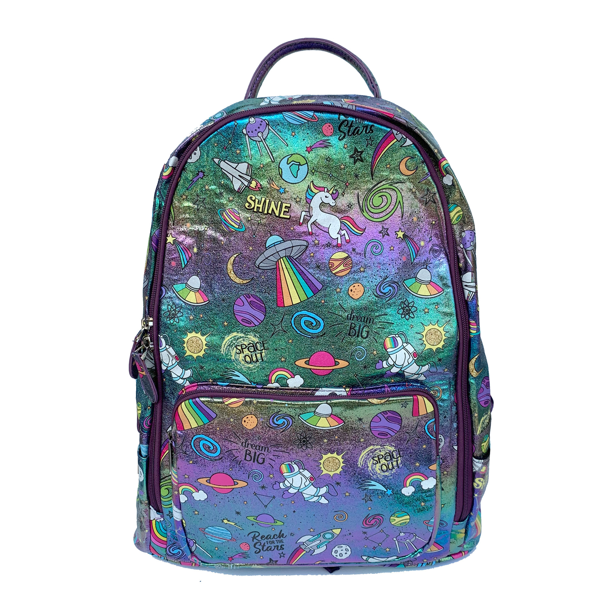 Bari Lynn Holographic Galaxy Print Backpack