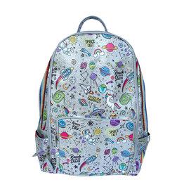 Bari Lynn Silver Galaxy Print Backpack with Taping