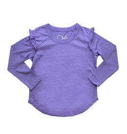 Chaser Purple Long Sleeve Ruffle Raglan