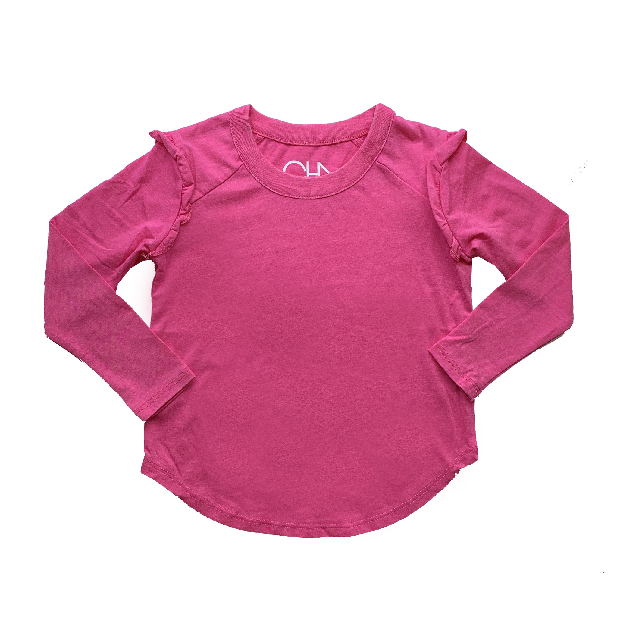 Chaser Hot Pink Long Sleeve Ruffle Raglan