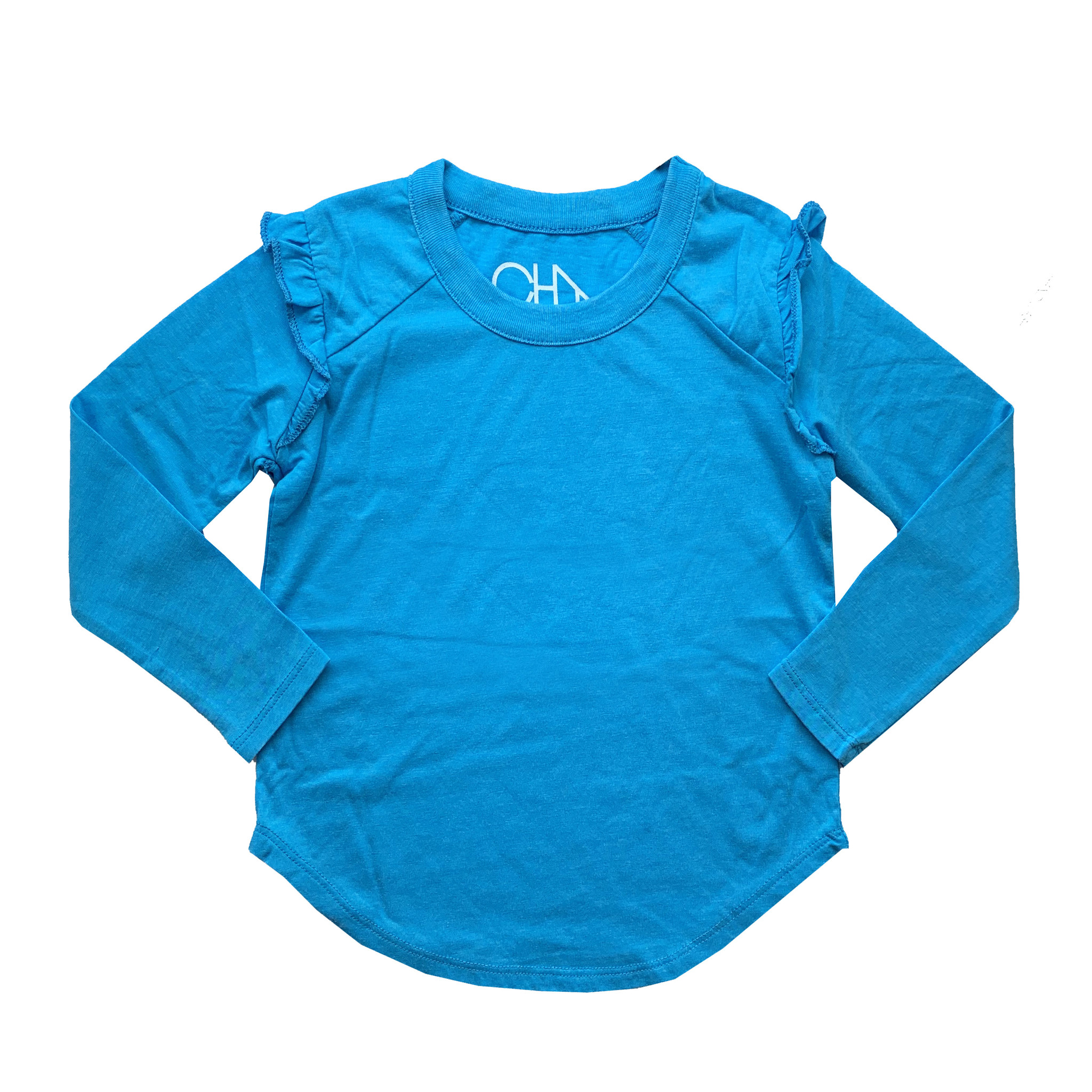 Chaser Turquoise Long Sleeve Ruffle Raglan