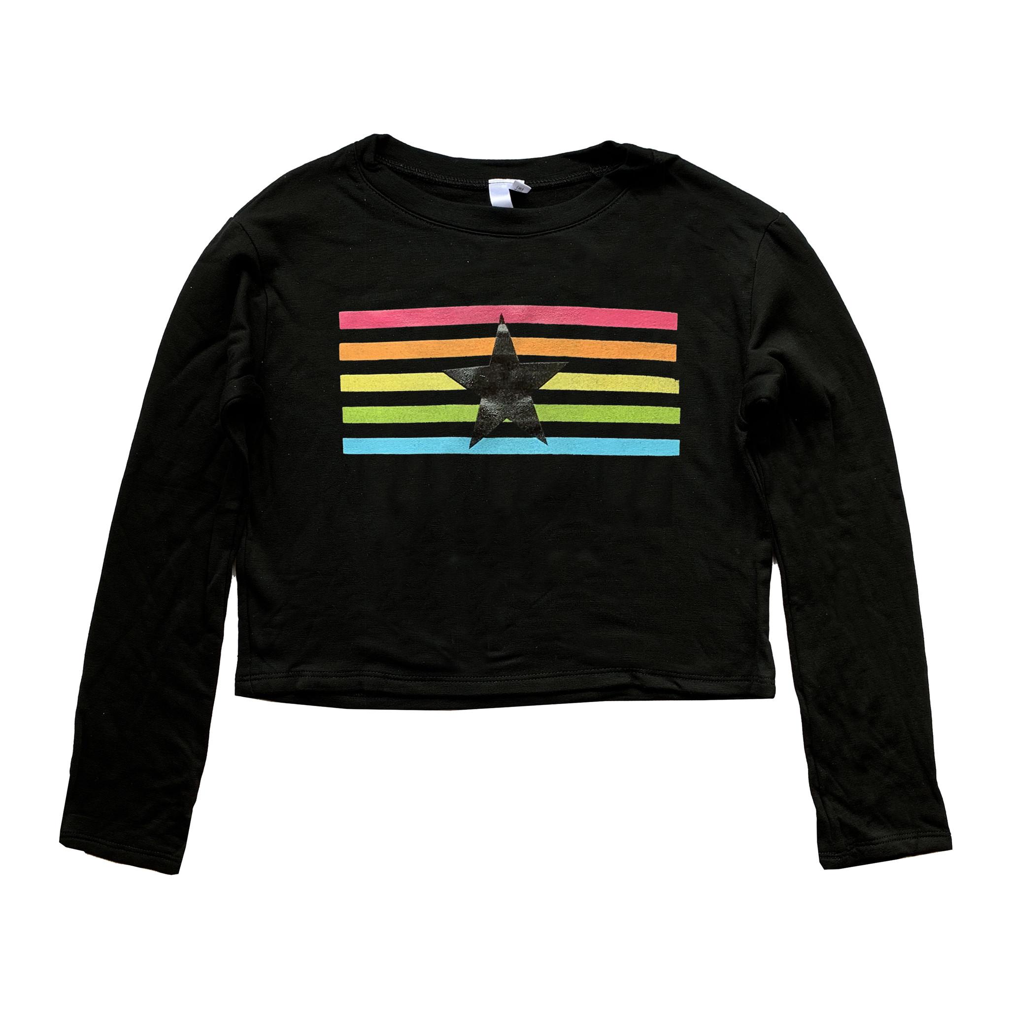 Malibu Sugar Rainbow Stripe Cropped Sweatshirt