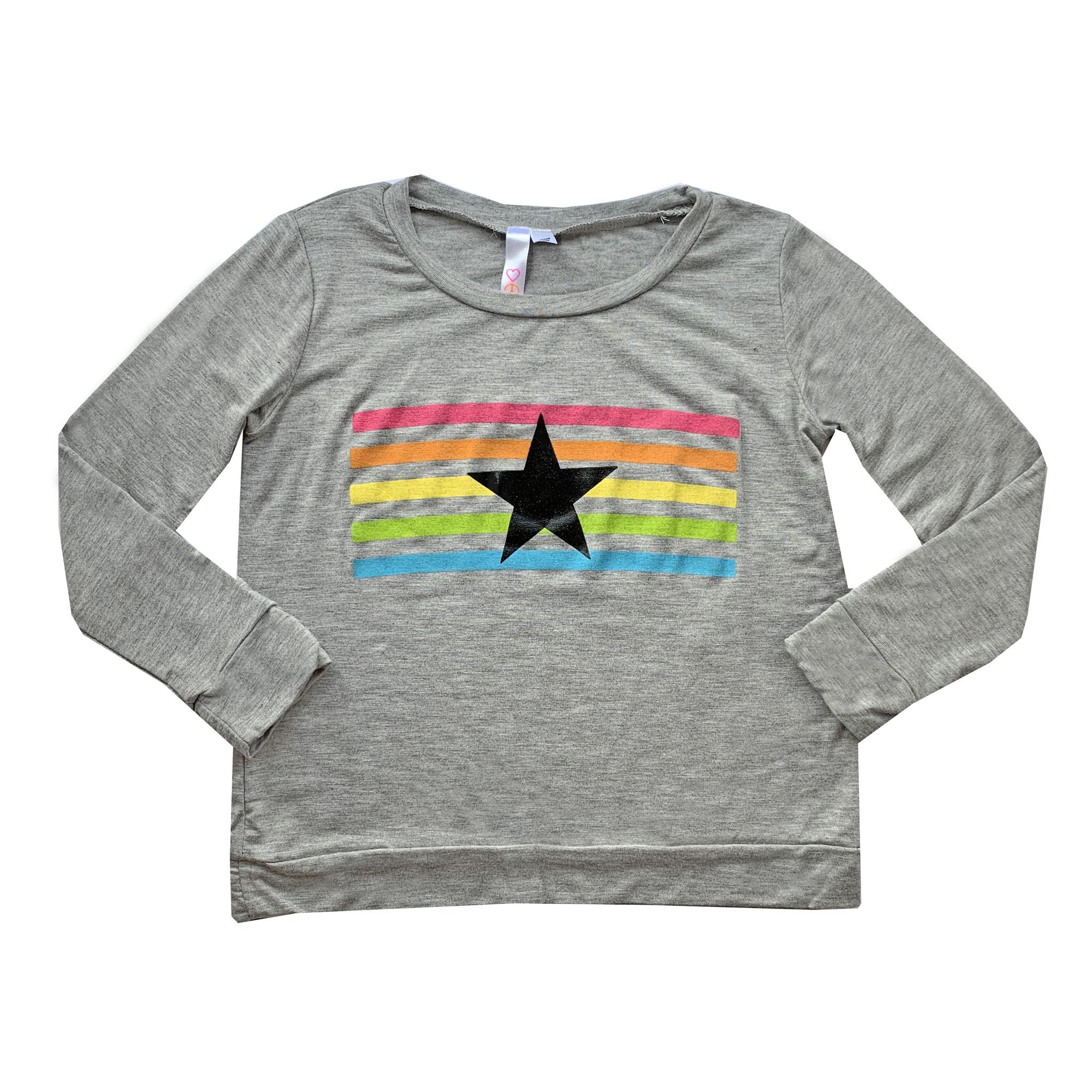 Malibu Sugar Grey Rainbow Stripe Star Top