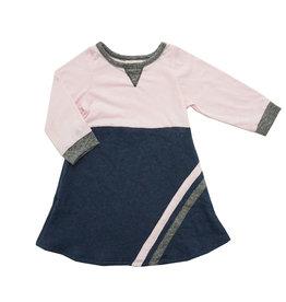 Miki Miette Pink & Navy Sports Stripe Dress