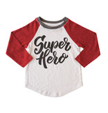 Grey Vintage Super Hero Baseball Top