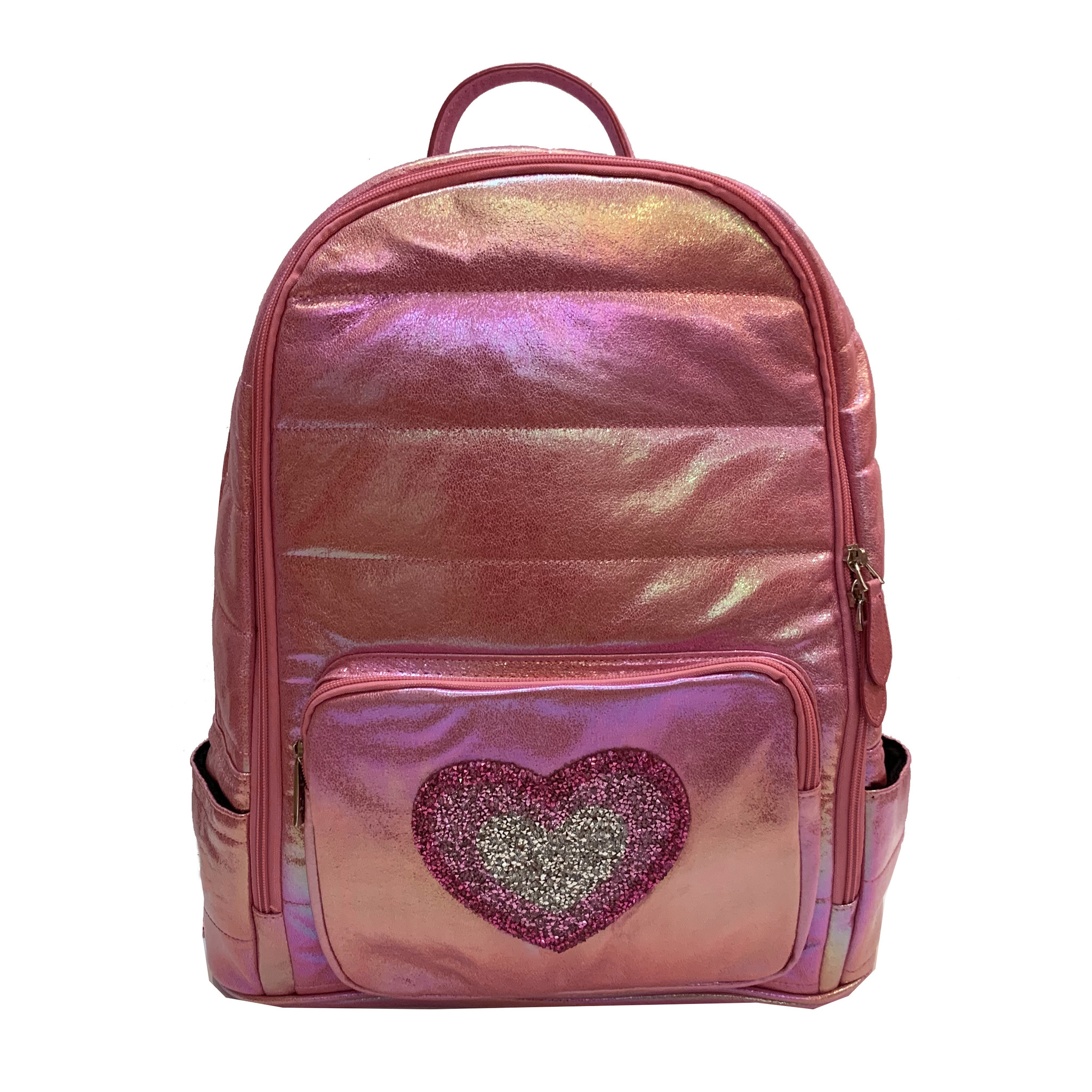 Bari Lynn Pink Puffy Backpack with Heart