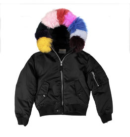SAM Rainbow Fur Hooded Bomber Jacket