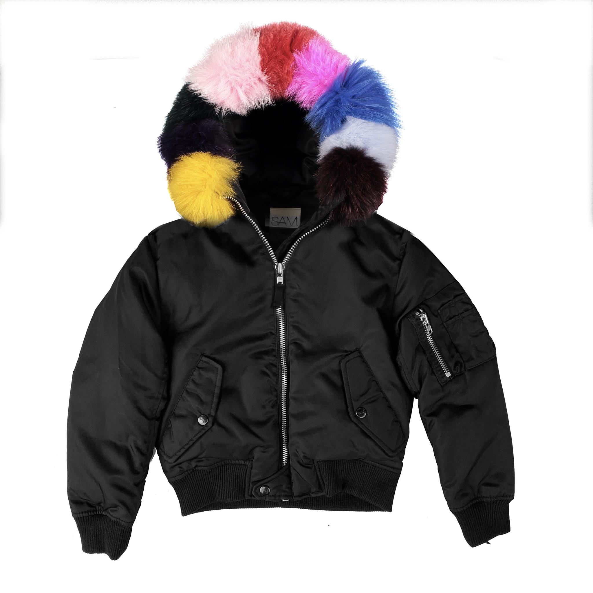 SAM Rainbow Fur Hooded Bomber Jacket