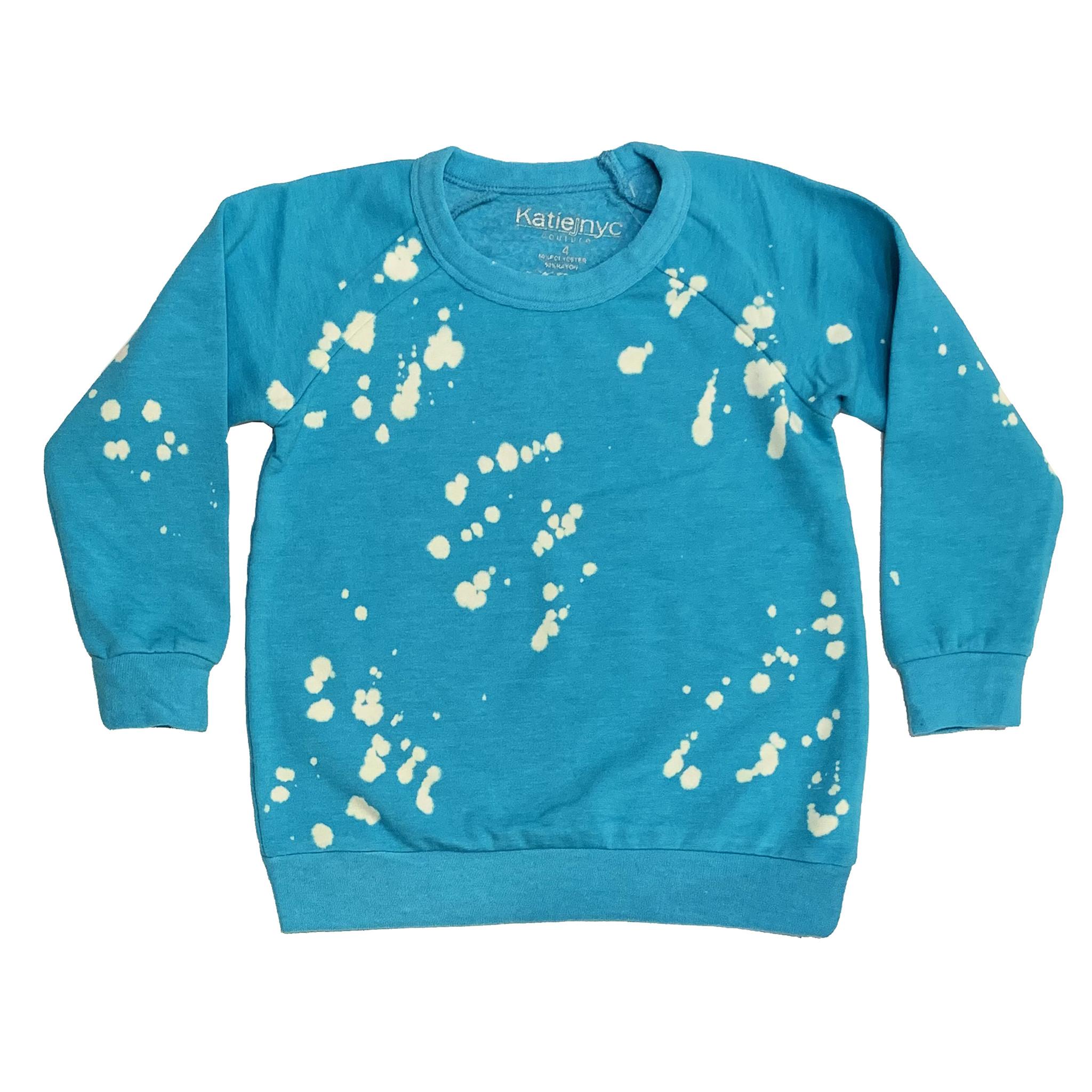 Katie J Turquoise Bleach Splatter Sweatshirt