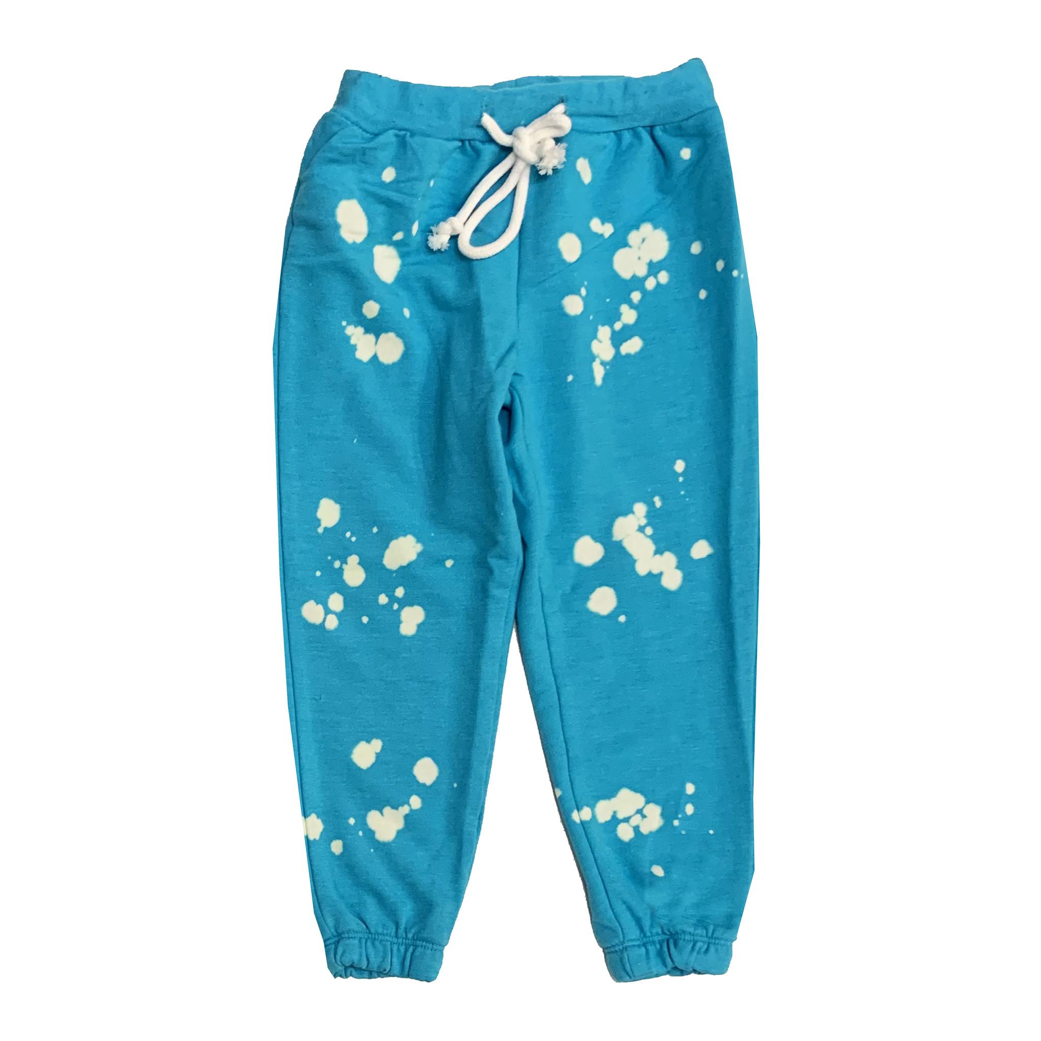 Katie J Turquoise Bleach Splatter Sweatpants