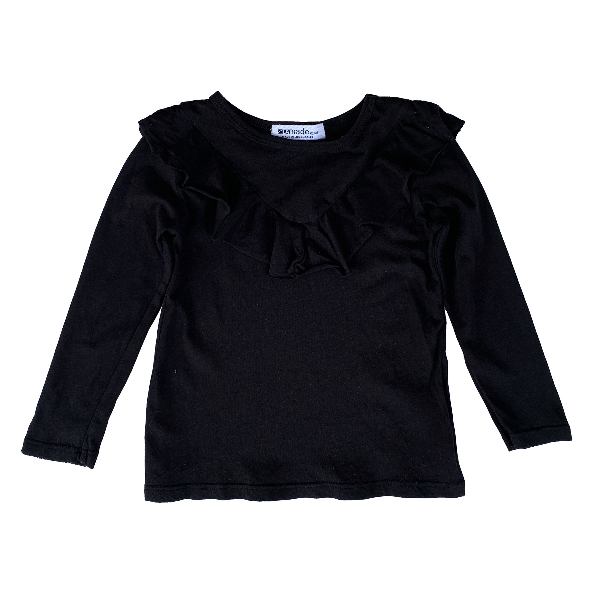 LA Made Black Ruffle Front Top
