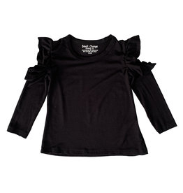 Small Change Black Ruffle Cold Shoulder Top