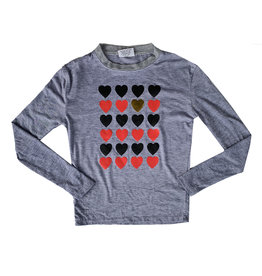 Firehouse Ribbed Neck Red Hearts Top