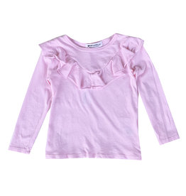 LA Made Light Pink Ruffle Front Top