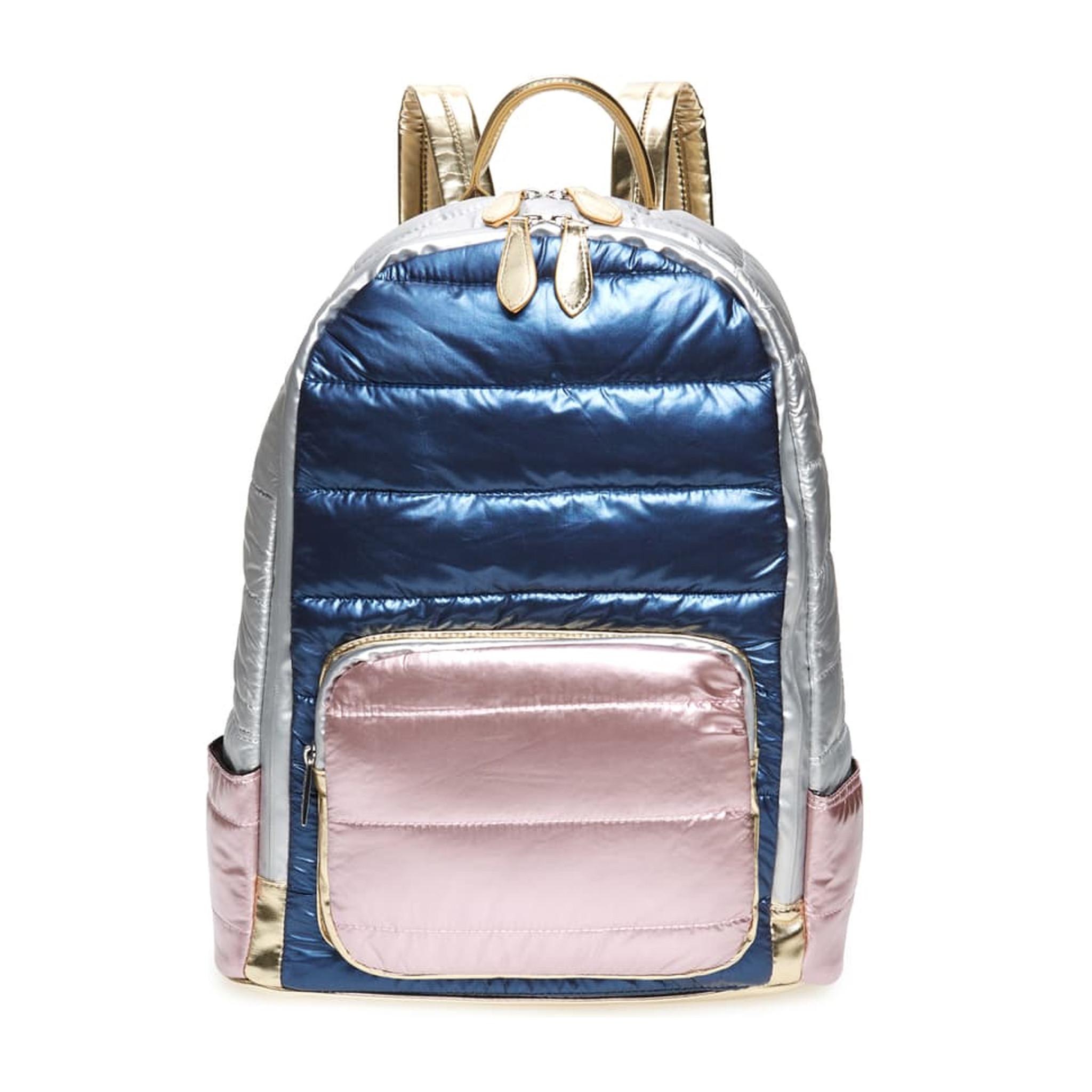 Bari Lynn Metallic Navy & Pink Puffy Backpack
