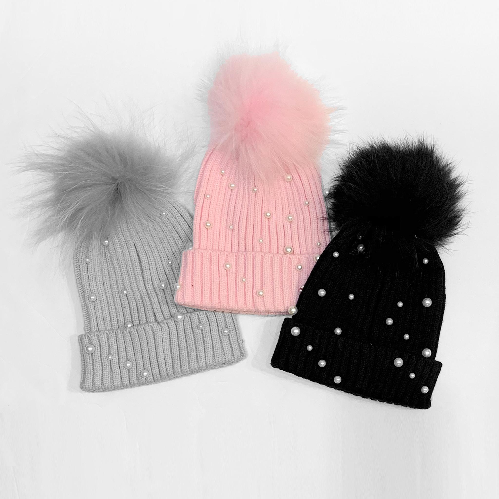 Bari Lynn Fur Pearl Winter Hats (3 colors)