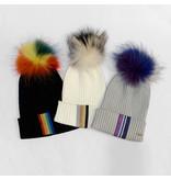 Bari Lynn Fur Rainbow Taping Winter Hats (3 colors)