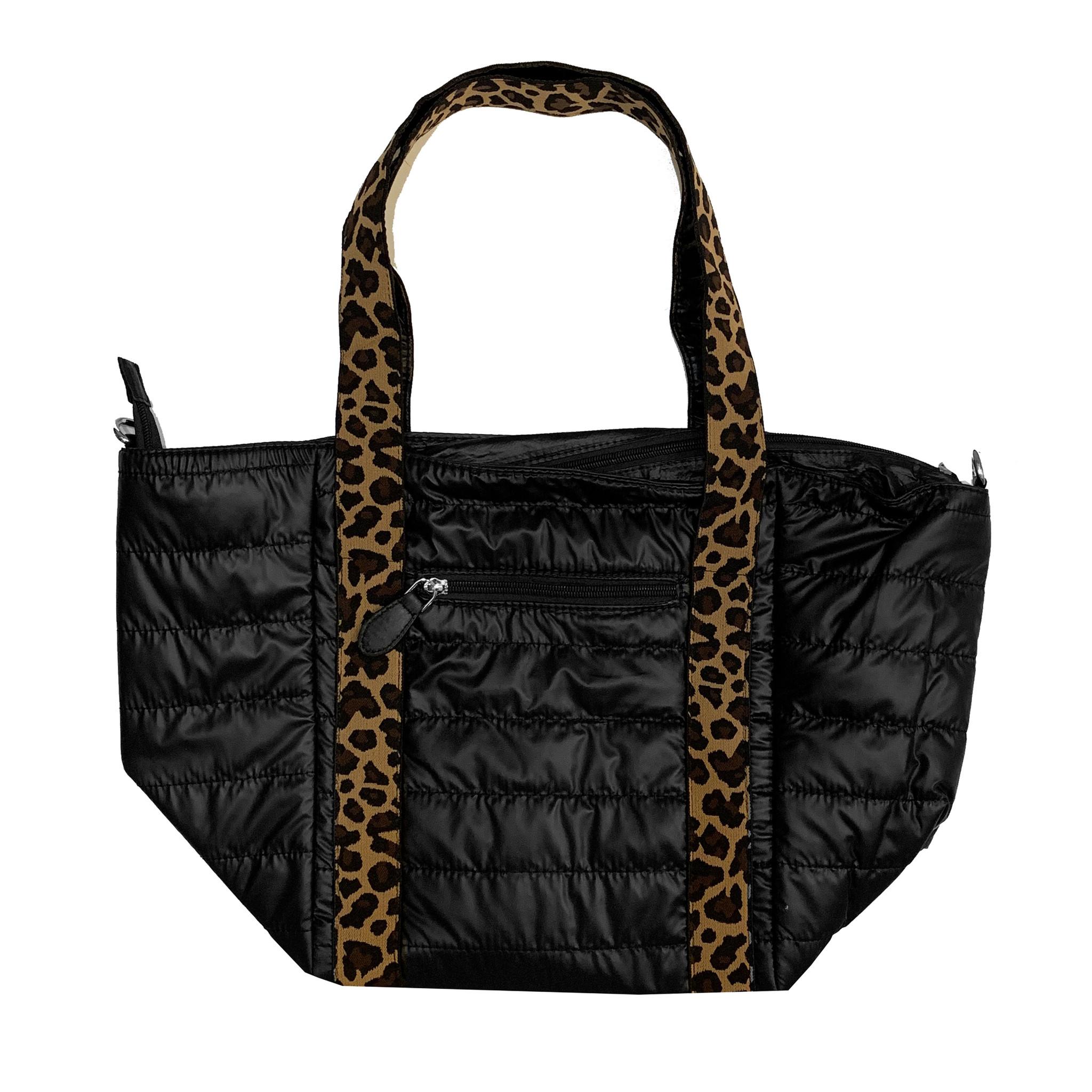 Bari Lynn Leopard Strap Puffy Weekender Bag