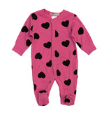Little Mish Hot Pink & Black Heart Thermal Footie