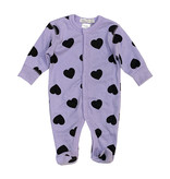 Little Mish Lilac & Black Heart Thermal Footie