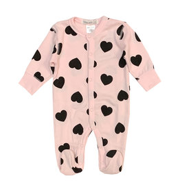 Little Mish Lt Pink & Black Heart Thermal Footie