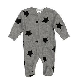 Little Mish Grey & Black Star Thermal Footie