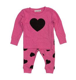 Little Mish Hot Pink & Black Heart Set