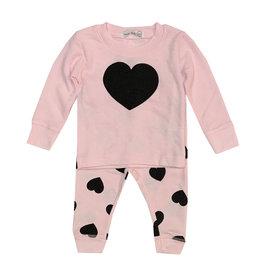 Little Mish Lt Pink & Black Heart Set