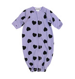 Little Mish Lilac & Black Heart Thermal Gown NB