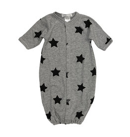 Little Mish Grey & Black Star Thermal Gown NB
