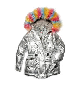Appaman Rainbow Faux Fur Middie Puffer Coat