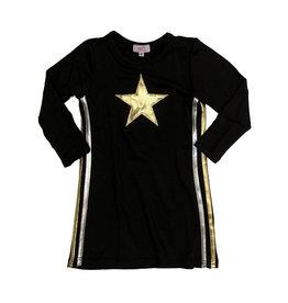 Sofi Black Metallic Star & Side Stripe Dress