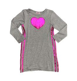 Sofi Grey Metallic Heart & Side Stripe Dress