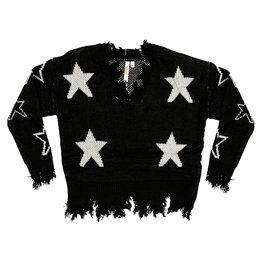 Malibu Sugar Distressed Star Sweater
