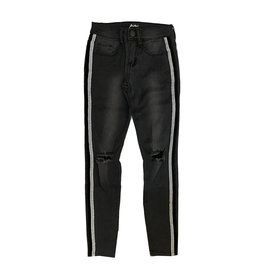 Pinc Velvet Trim Black Ripped Jean Jeggings